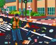 Sanitasyon İşci Temizleme Yolu